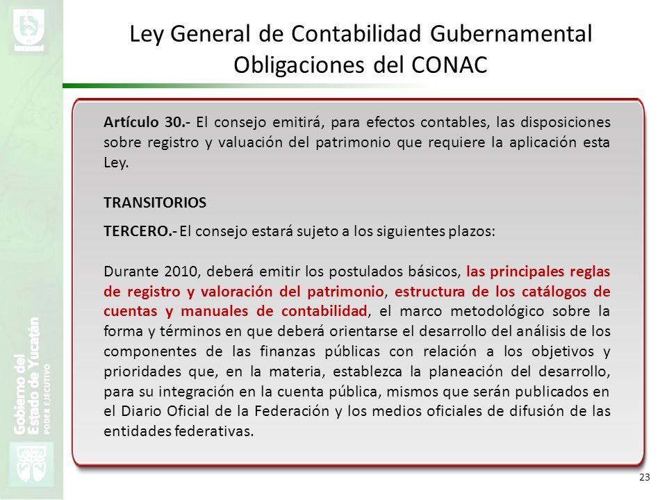 VMZH 23 Ley General de Contabilidad Gubernamental Obligaciones del CONAC Artículo 30.- El consejo emitirá, para efectos contables, las disposiciones s
