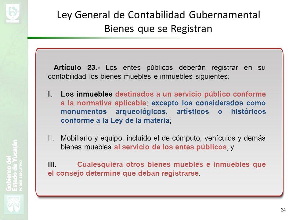 VMZH 24 Artículo 23.- Los entes públicos deberán registrar en su contabilidad los bienes muebles e inmuebles siguientes: I.Los inmuebles destinados a