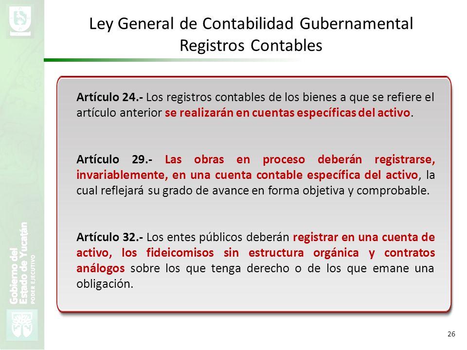 VMZH 26 Ley General de Contabilidad Gubernamental Registros Contables Artículo 24.- Los registros contables de los bienes a que se refiere el artículo