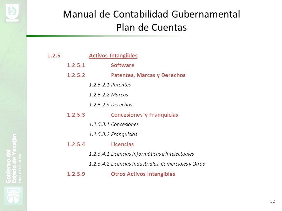 VMZH 32 Manual de Contabilidad Gubernamental Plan de Cuentas 1.2.5Activos Intangibles 1.2.5.1Software 1.2.5.2Patentes, Marcas y Derechos 1.2.5.2.1Pate