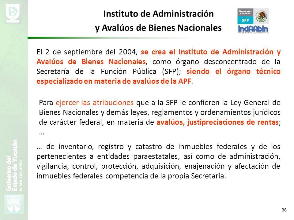 VMZH 36 Instituto de Administración y Avalúos de Bienes Nacionales El 2 de septiembre del 2004, se crea el Instituto de Administración y Avalúos de Bi