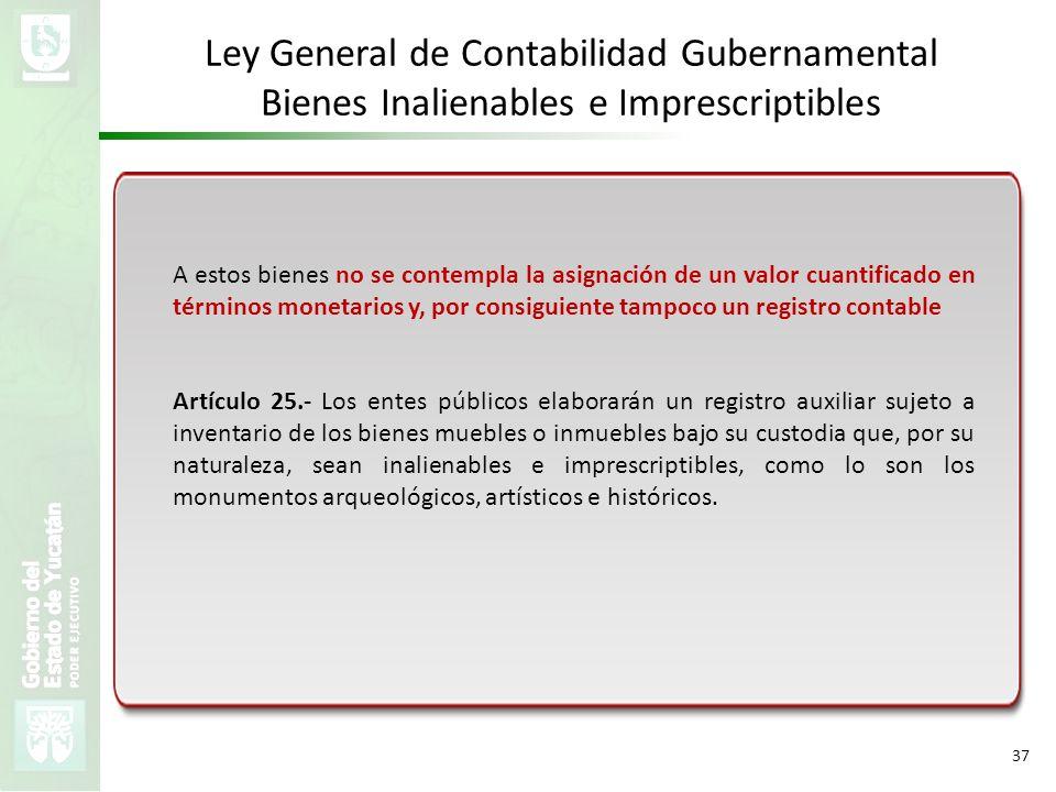 VMZH 37 Ley General de Contabilidad Gubernamental Bienes Inalienables e Imprescriptibles A estos bienes no se contempla la asignación de un valor cuan
