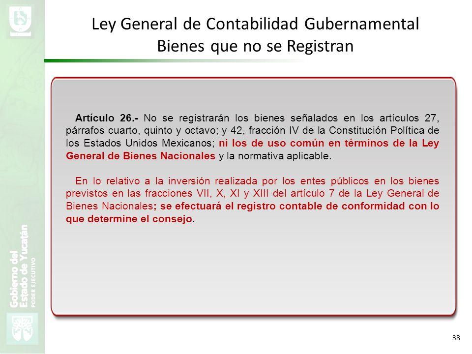 VMZH 38 Ley General de Contabilidad Gubernamental Bienes que no se Registran Artículo 26.- No se registrarán los bienes señalados en los artículos 27,