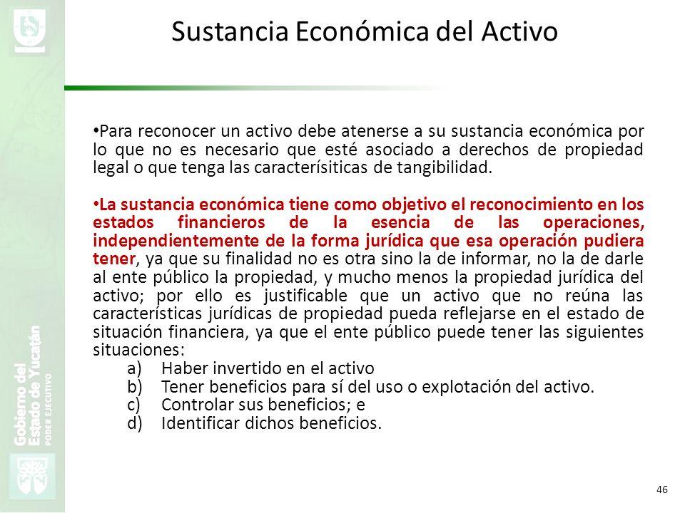 VMZH 46 Sustancia Económica del Activo Para reconocer un activo debe atenerse a su sustancia económica por lo que no es necesario que esté asociado a