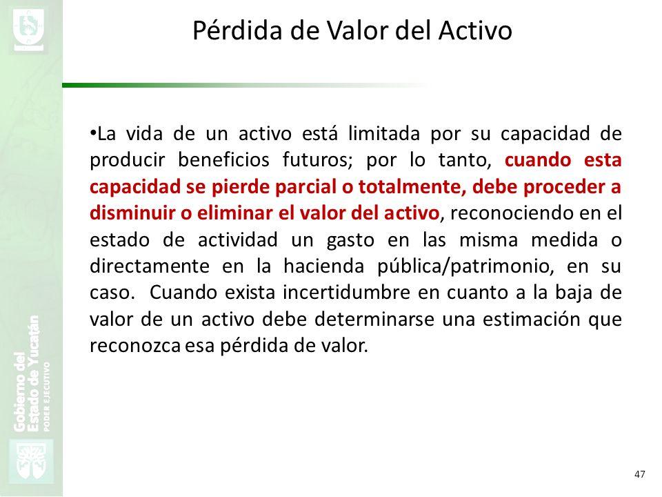 VMZH 47 Pérdida de Valor del Activo La vida de un activo está limitada por su capacidad de producir beneficios futuros; por lo tanto, cuando esta capa