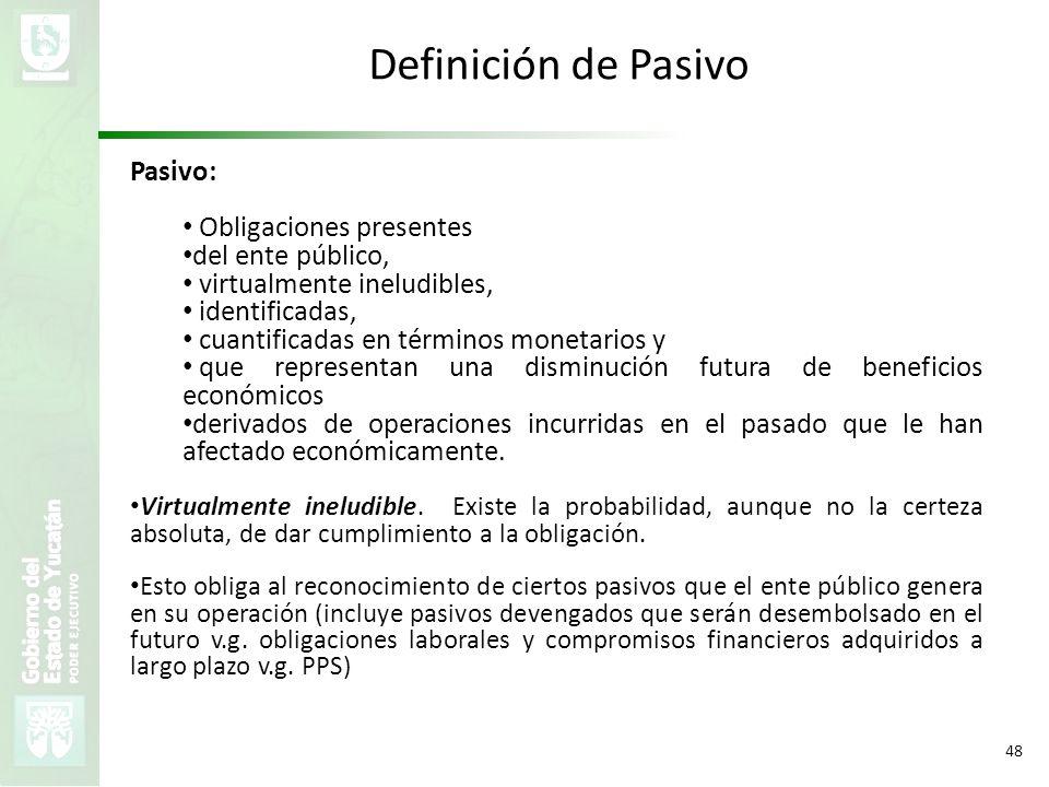 VMZH 48 Definición de Pasivo Pasivo: Obligaciones presentes del ente público, virtualmente ineludibles, identificadas, cuantificadas en términos monet