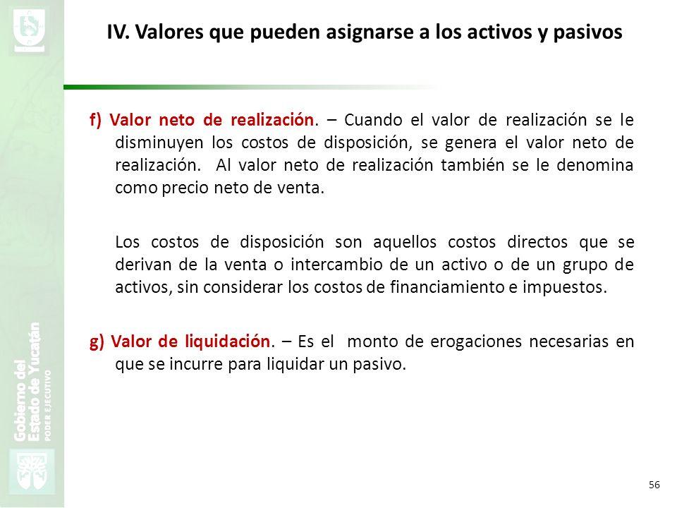 VMZH 56 IV. Valores que pueden asignarse a los activos y pasivos f) Valor neto de realización. – Cuando el valor de realización se le disminuyen los c