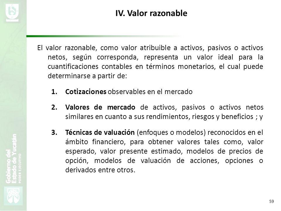 VMZH 59 IV. Valor razonable El valor razonable, como valor atribuible a activos, pasivos o activos netos, según corresponda, representa un valor ideal