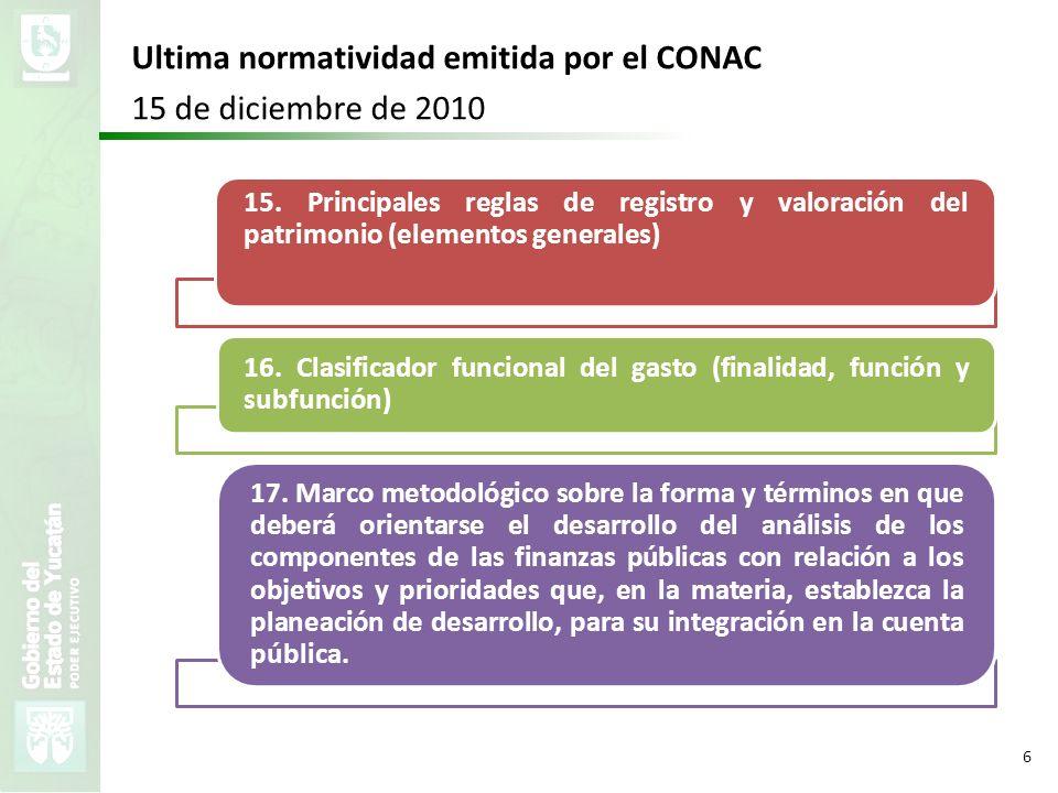 VMZH 6 Ultima normatividad emitida por el CONAC 15 de diciembre de 2010 15. Principales reglas de registro y valoración del patrimonio (elementos gene