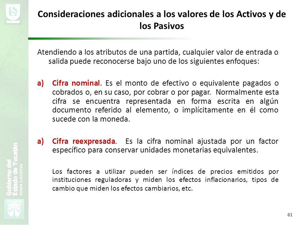 VMZH 61 Consideraciones adicionales a los valores de los Activos y de los Pasivos Atendiendo a los atributos de una partida, cualquier valor de entrad