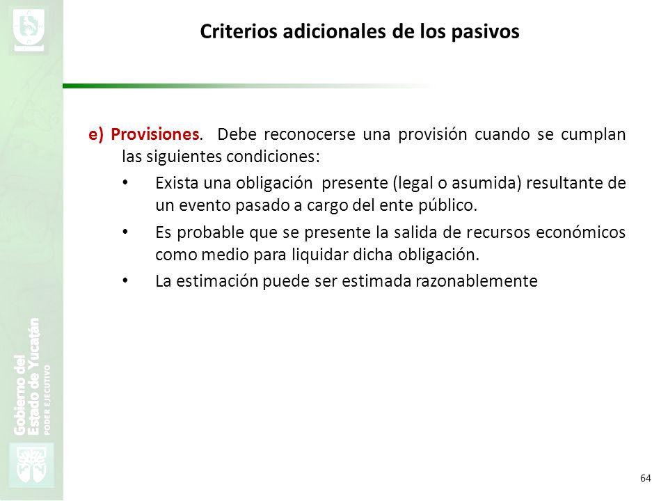 VMZH 64 Criterios adicionales de los pasivos e) Provisiones. Debe reconocerse una provisión cuando se cumplan las siguientes condiciones: Exista una o