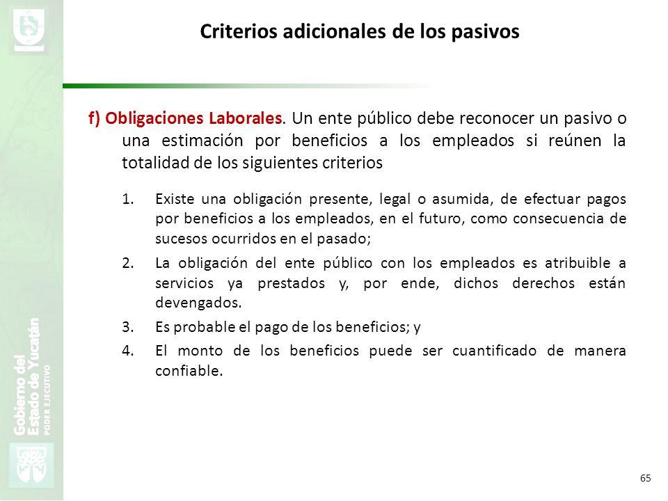 VMZH 65 Criterios adicionales de los pasivos f) Obligaciones Laborales. Un ente público debe reconocer un pasivo o una estimación por beneficios a los