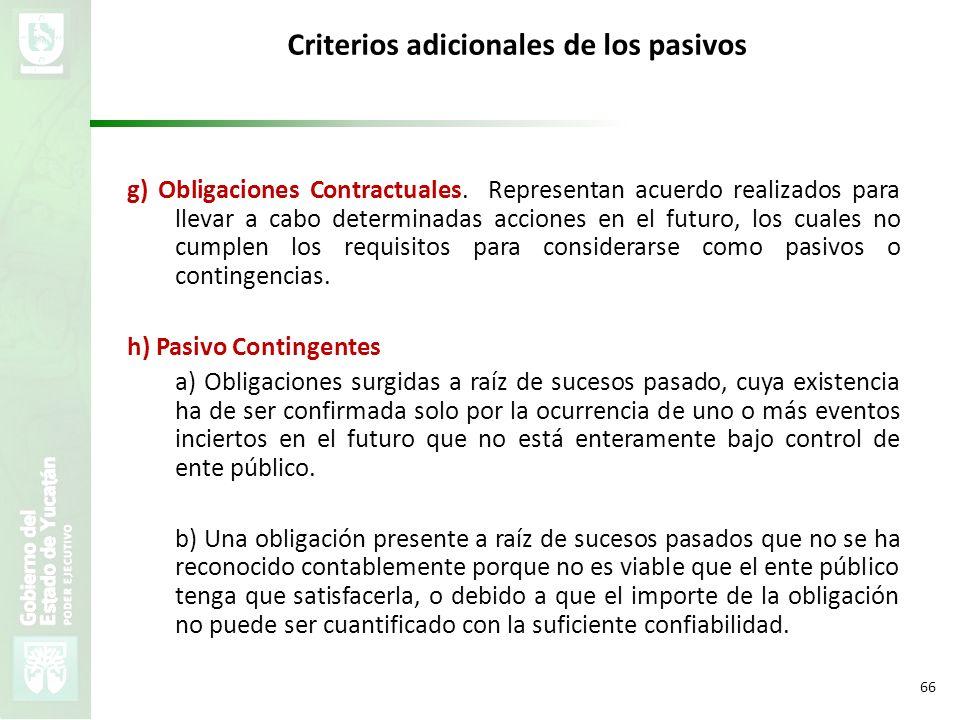 VMZH 66 Criterios adicionales de los pasivos g) Obligaciones Contractuales. Representan acuerdo realizados para llevar a cabo determinadas acciones en