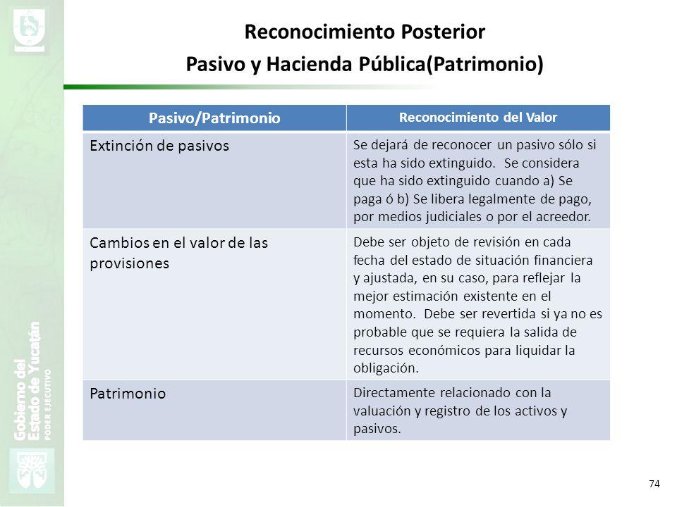 VMZH 74 Pasivo/Patrimonio Reconocimiento del Valor Extinción de pasivos Se dejará de reconocer un pasivo sólo si esta ha sido extinguido. Se considera