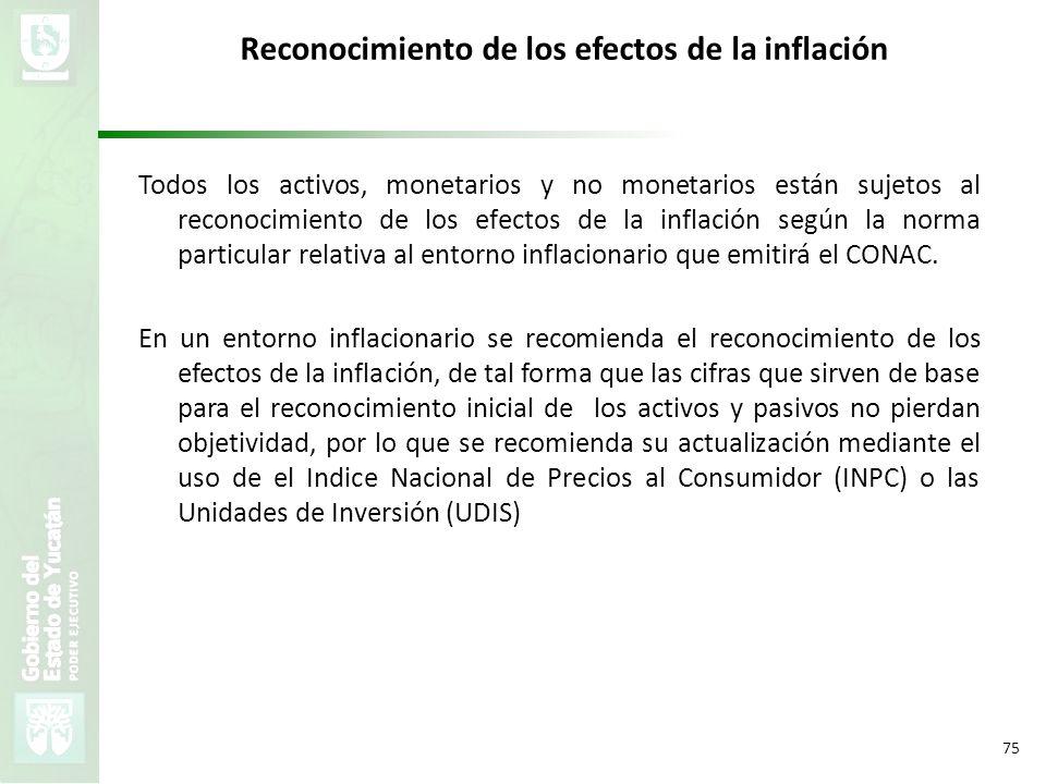 VMZH 75 Reconocimiento de los efectos de la inflación Todos los activos, monetarios y no monetarios están sujetos al reconocimiento de los efectos de