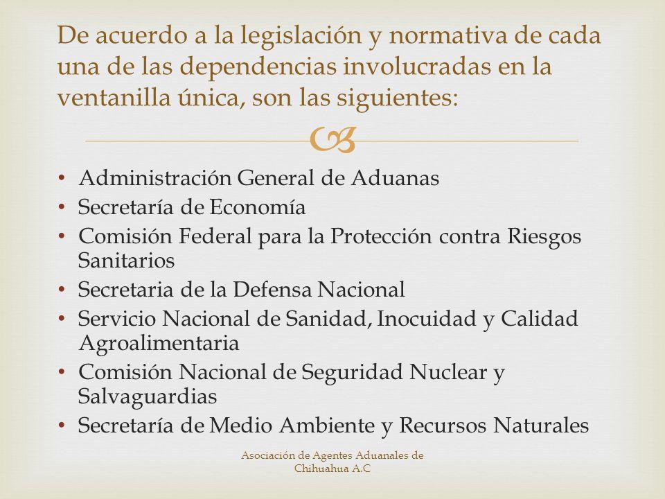 De acuerdo a la legislación y normativa de cada una de las dependencias involucradas en la ventanilla única, son las siguientes: Administración Genera