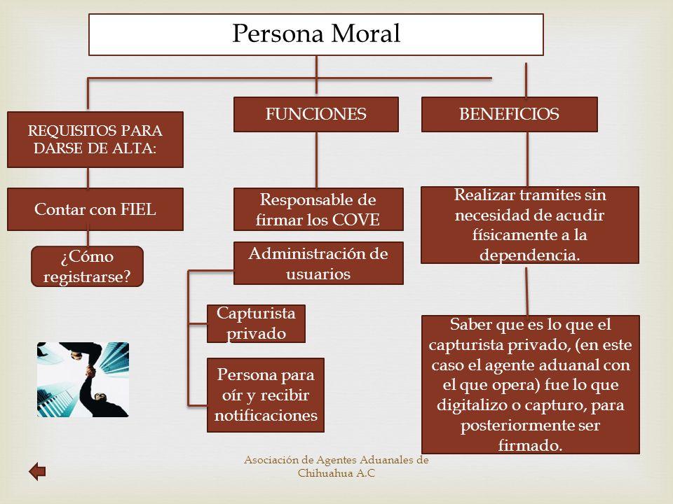 Persona Moral REQUISITOS PARA DARSE DE ALTA: FUNCIONES BENEFICIOS Contar con FIEL Responsable de firmar los COVE Administración de usuarios Realizar t