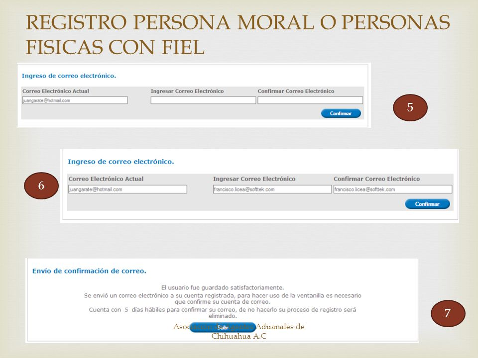 5 6 7 REGISTRO PERSONA MORAL O PERSONAS FISICAS CON FIEL Asociación de Agentes Aduanales de Chihuahua A.C