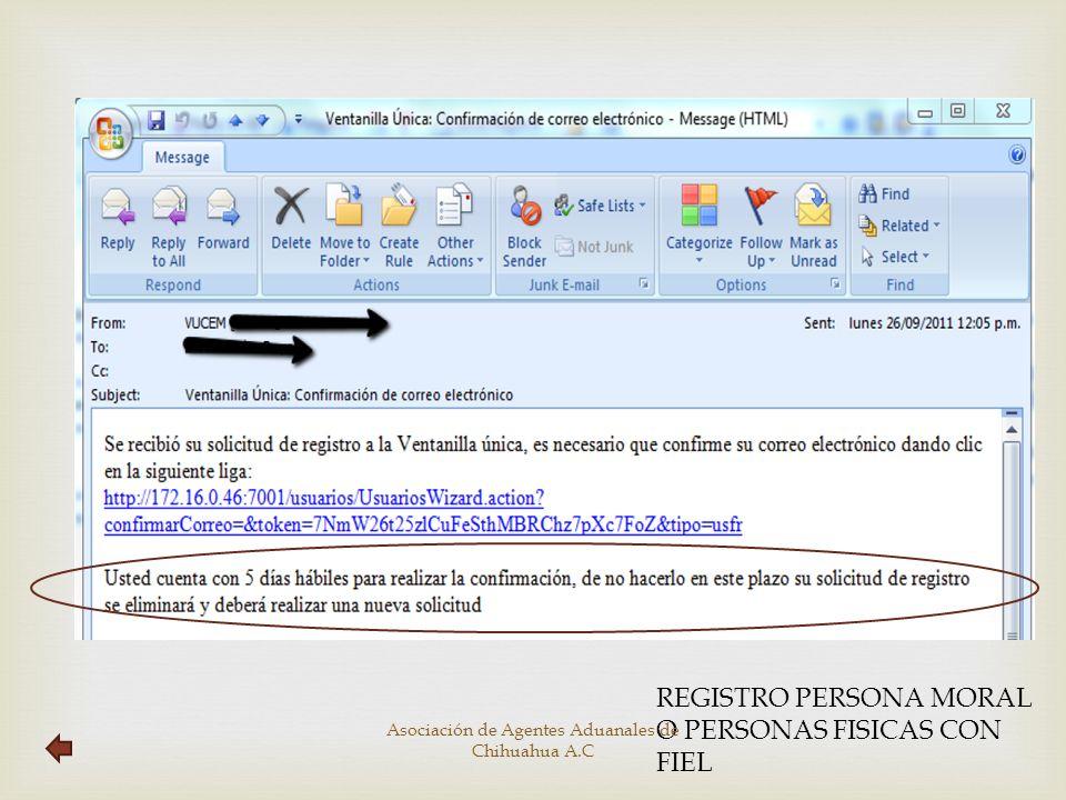 Registrar Persona para oír y escuchar notificaciones Asociación de Agentes Aduanales de Chihuahua A.C