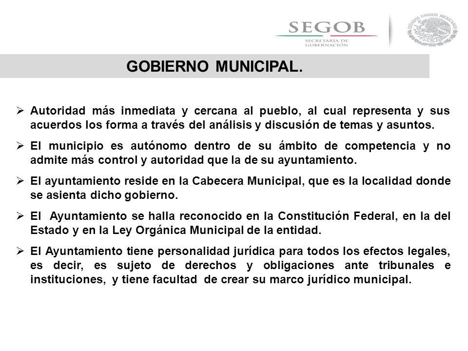 GOBIERNO MUNICIPAL. Autoridad más inmediata y cercana al pueblo, al cual representa y sus acuerdos los forma a través del análisis y discusión de tema
