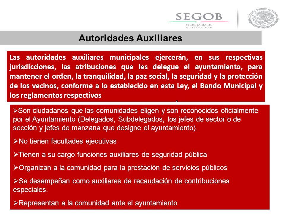 Las autoridades auxiliares municipales ejercerán, en sus respectivas jurisdicciones, las atribuciones que les delegue el ayuntamiento, para mantener e