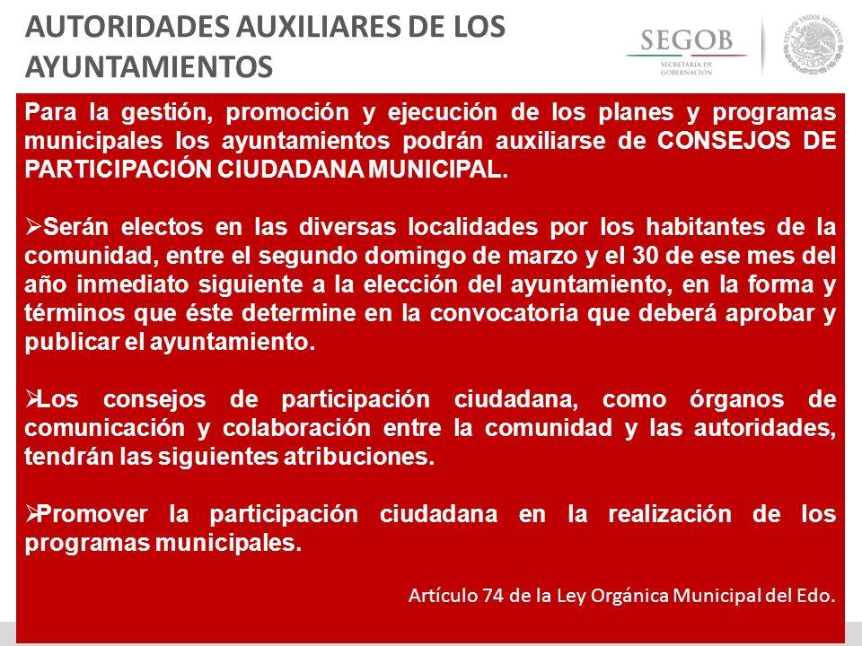 Para la gestión, promoción y ejecución de los planes y programas municipales los ayuntamientos podrán auxiliarse de CONSEJOS DE PARTICIPACIÓN CIUDADAN
