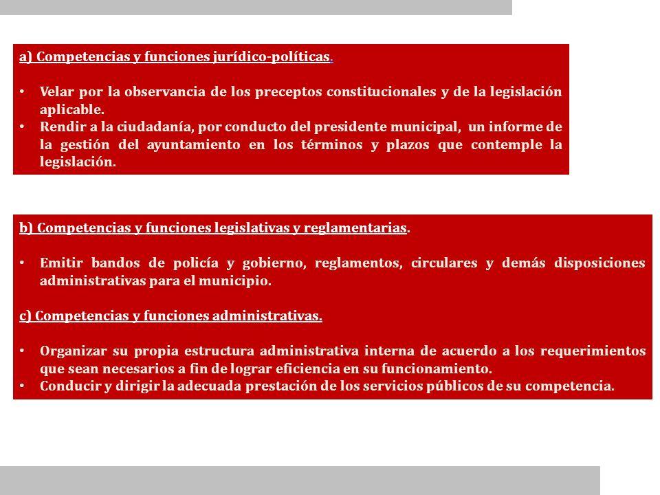 b) Competencias y funciones legislativas y reglamentarias. Emitir bandos de policía y gobierno, reglamentos, circulares y demás disposiciones administ