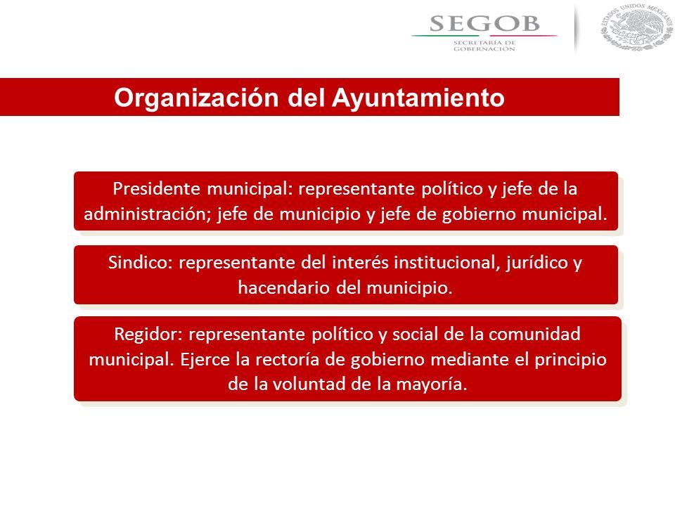 Presidente municipal: representante político y jefe de la administración; jefe de municipio y jefe de gobierno municipal. Sindico: representante del i