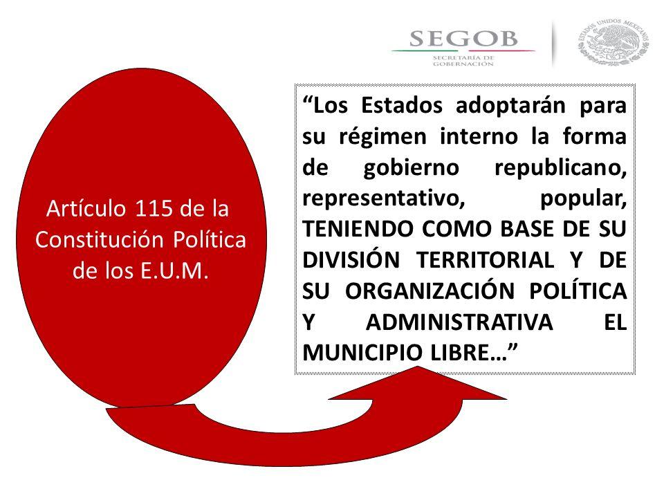 Los Estados adoptarán para su régimen interno la forma de gobierno republicano, representativo, popular, TENIENDO COMO BASE DE SU DIVISIÓN TERRITORIAL
