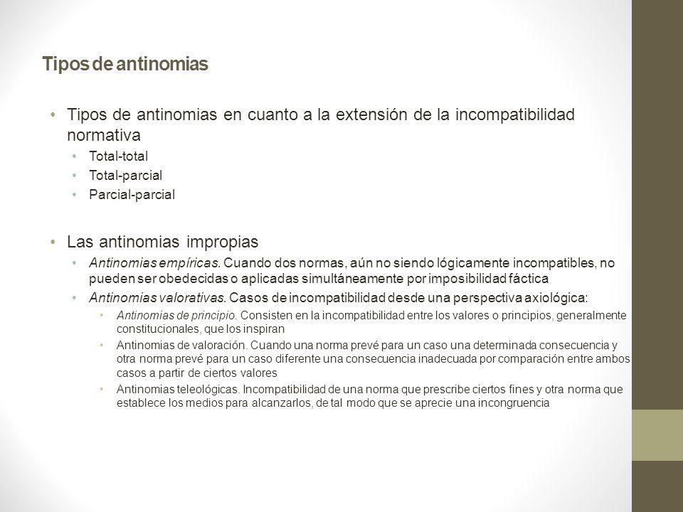 Tipos de antinomias Tipos de antinomias en cuanto a la extensión de la incompatibilidad normativa Total-total Total-parcial Parcial-parcial Las antinomias impropias Antinomias empíricas.