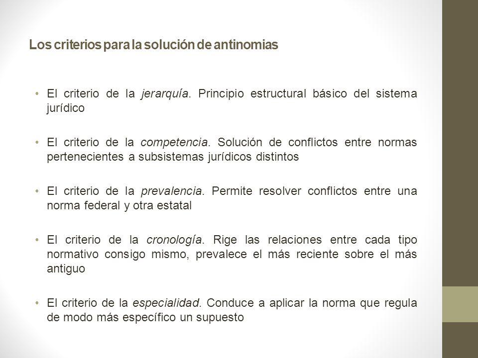 Los criterios para la solución de antinomias El criterio de la jerarquía. Principio estructural básico del sistema jurídico El criterio de la competen