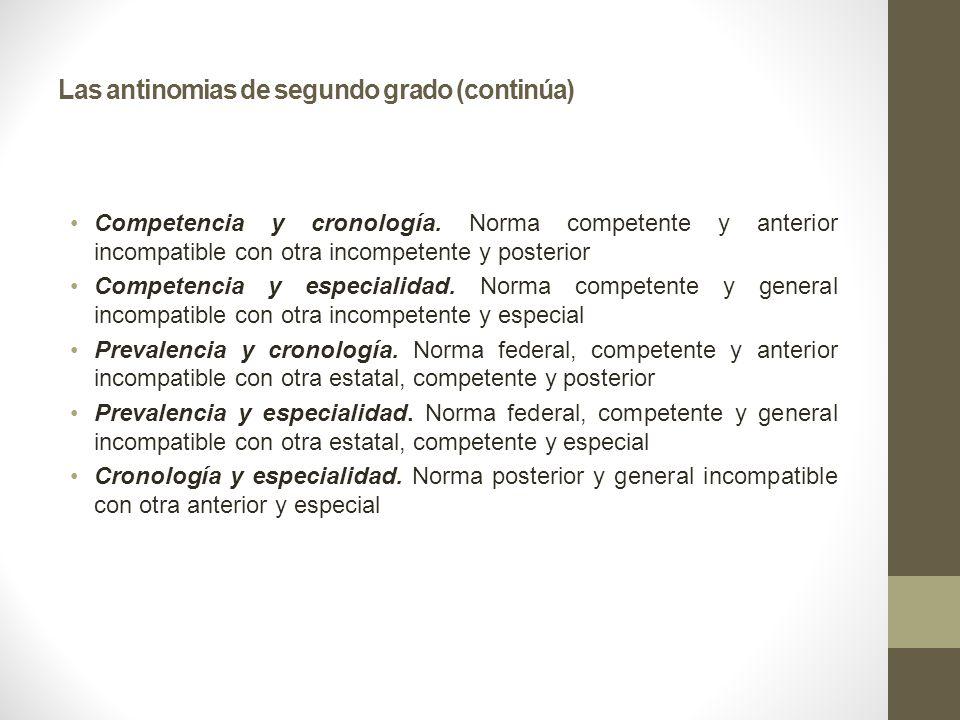 Las antinomias de segundo grado (continúa) Competencia y cronología. Norma competente y anterior incompatible con otra incompetente y posterior Compet