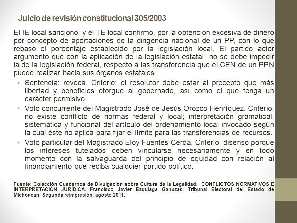 Juicio de revisión constitucional 305/2003 El IE local sancionó, y el TE local confirmó, por la obtención excesiva de dinero por concepto de aportaciones de la dirigencia nacional de un PP, con lo que rebasó el porcentaje establecido por la legislación local.