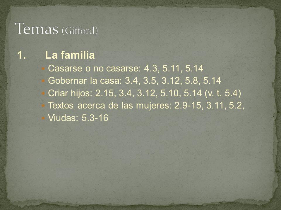 1.La familia Casarse o no casarse: 4.3, 5.11, 5.14 Gobernar la casa: 3.4, 3.5, 3.12, 5.8, 5.14 Criar hijos: 2.15, 3.4, 3.12, 5.10, 5.14 (v. t. 5.4) Te