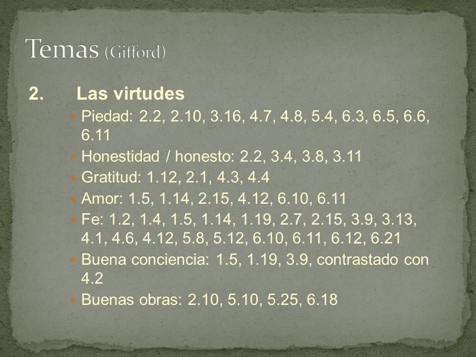 2.Las virtudes Piedad: 2.2, 2.10, 3.16, 4.7, 4.8, 5.4, 6.3, 6.5, 6.6, 6.11 Honestidad / honesto: 2.2, 3.4, 3.8, 3.11 Gratitud: 1.12, 2.1, 4.3, 4.4 Amo