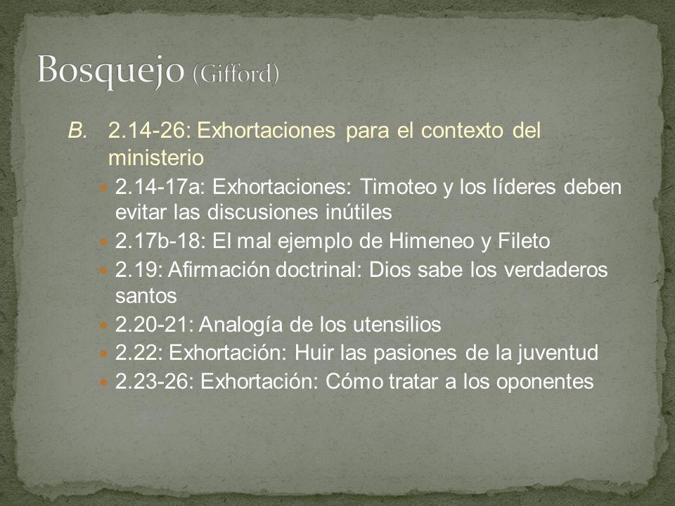 B.2.14-26: Exhortaciones para el contexto del ministerio 2.14-17a: Exhortaciones: Timoteo y los líderes deben evitar las discusiones inútiles 2.17b-18
