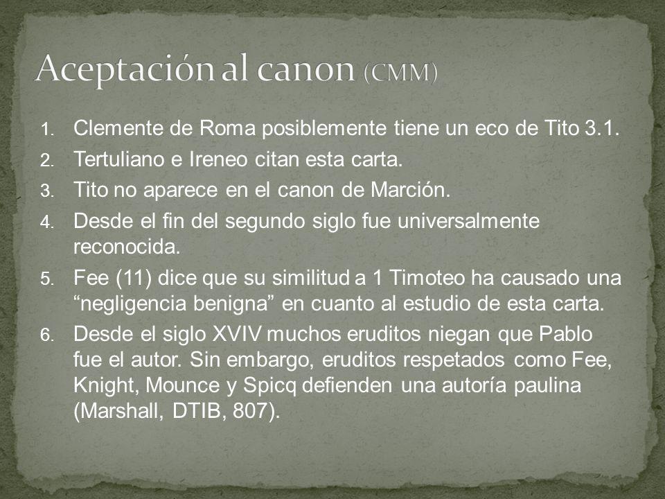 1. Clemente de Roma posiblemente tiene un eco de Tito 3.1. 2. Tertuliano e Ireneo citan esta carta. 3. Tito no aparece en el canon de Marción. 4. Desd