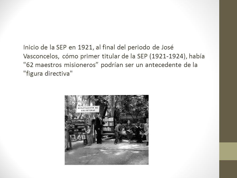 Inicio de la SEP en 1921, al final del periodo de José Vasconcelos, cómo primer titular de la SEP (1921-1924), había