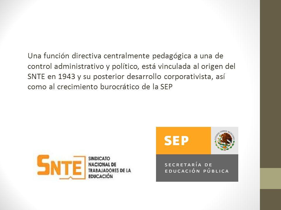 Una función directiva centralmente pedagógica a una de control administrativo y político, está vinculada al origen del SNTE en 1943 y su posterior des