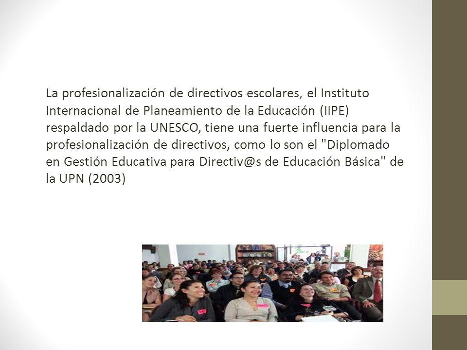 La profesionalización de directivos escolares, el Instituto Internacional de Planeamiento de la Educación (IIPE) respaldado por la UNESCO, tiene una fuerte influencia para la profesionalización de directivos, como lo son el Diplomado en Gestión Educativa para Directiv@s de Educación Básica de la UPN (2003)