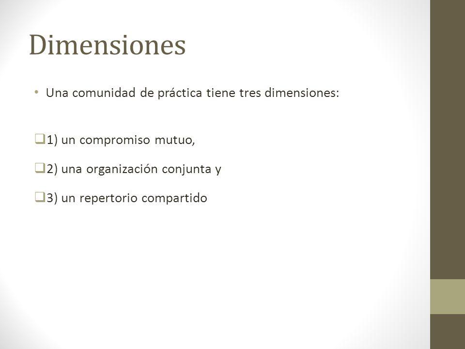 Dimensiones Una comunidad de práctica tiene tres dimensiones: 1) un compromiso mutuo, 2) una organización conjunta y 3) un repertorio compartido