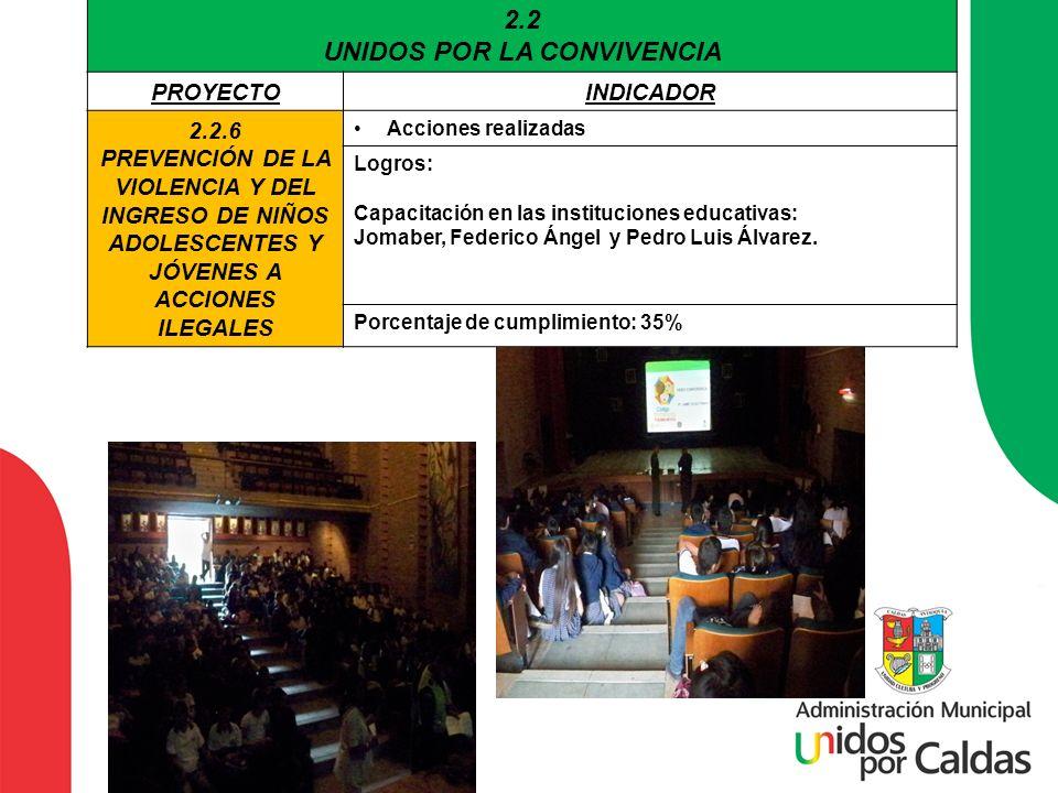 2.2 UNIDOS POR LA CONVIVENCIA PROYECTOINDICADOR 2.2.6 PREVENCIÓN DE LA VIOLENCIA Y DEL INGRESO DE NIÑOS ADOLESCENTES Y JÓVENES A ACCIONES ILEGALES Acc