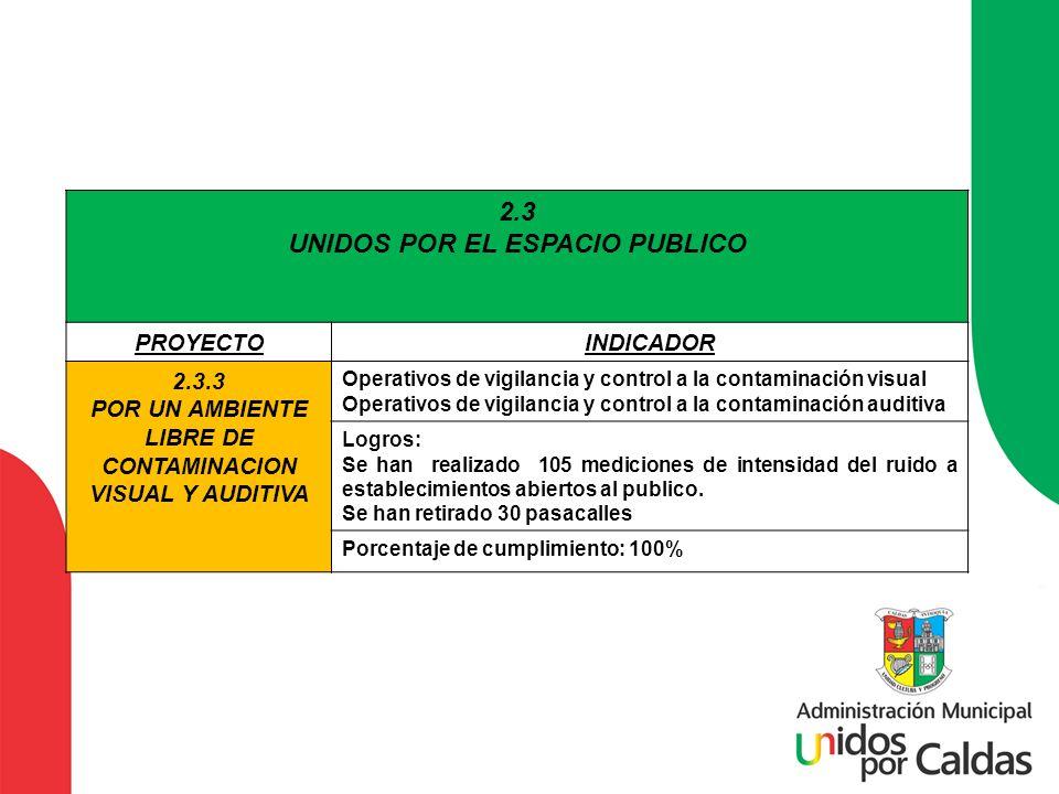 2.3 UNIDOS POR EL ESPACIO PUBLICO PROYECTOINDICADOR 2.3.3 POR UN AMBIENTE LIBRE DE CONTAMINACION VISUAL Y AUDITIVA Operativos de vigilancia y control