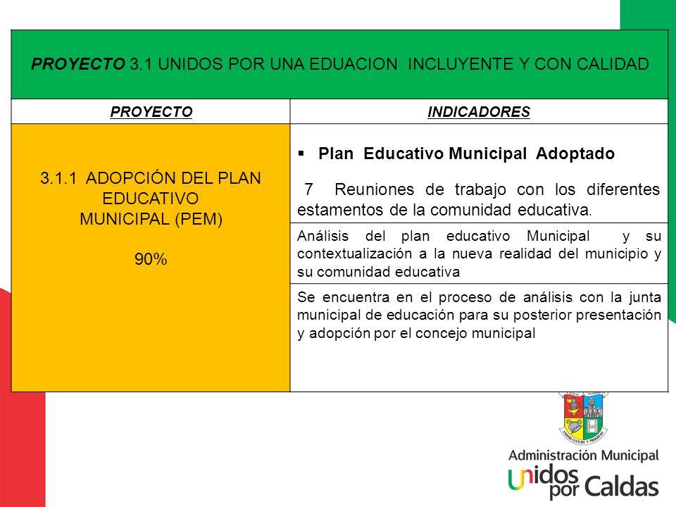 PROYECTO 3.1 UNIDOS POR UNA EDUACION INCLUYENTE Y CON CALIDAD PROYECTOINDICADORES 3.1.1 ADOPCIÓN DEL PLAN EDUCATIVO MUNICIPAL (PEM) 90% Plan Educativo