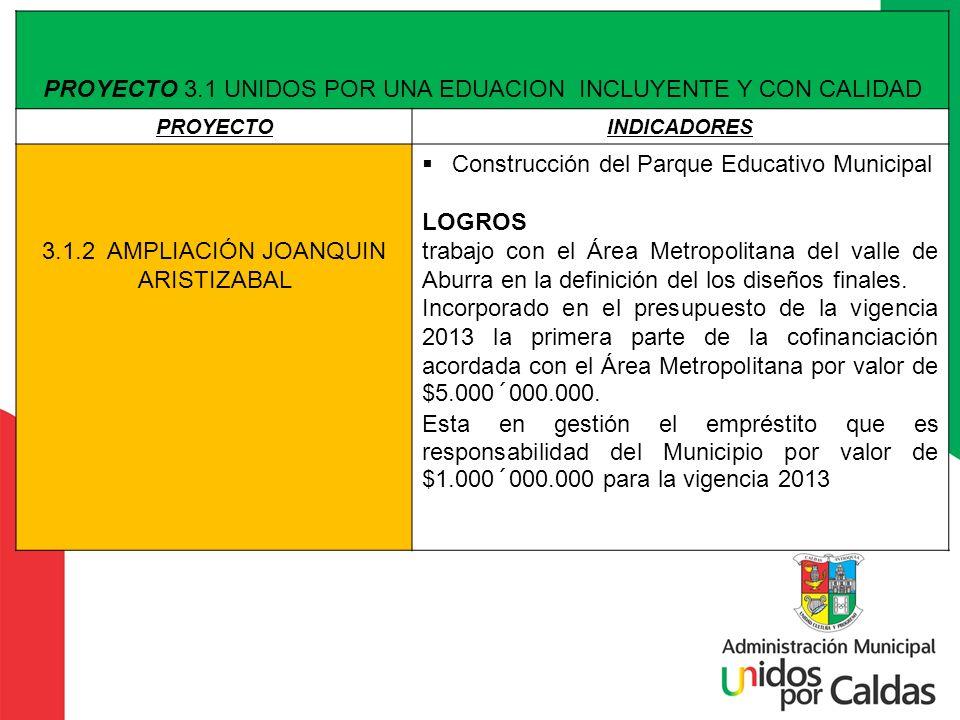 PROYECTO 3.1 UNIDOS POR UNA EDUACION INCLUYENTE Y CON CALIDAD PROYECTOINDICADORES 3.1.2 AMPLIACIÓN JOANQUIN ARISTIZABAL Construcción del Parque Educat
