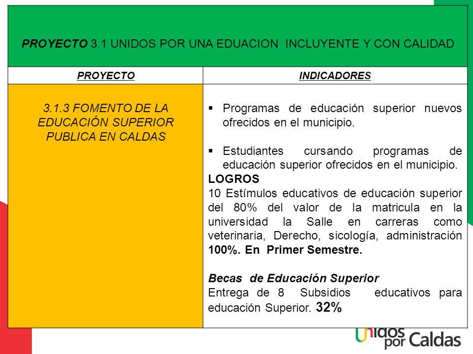 PROYECTO 3.1 UNIDOS POR UNA EDUACION INCLUYENTE Y CON CALIDAD PROYECTOINDICADORES 3.1.3 FOMENTO DE LA EDUCACIÓN SUPERIOR PUBLICA EN CALDAS Programas d