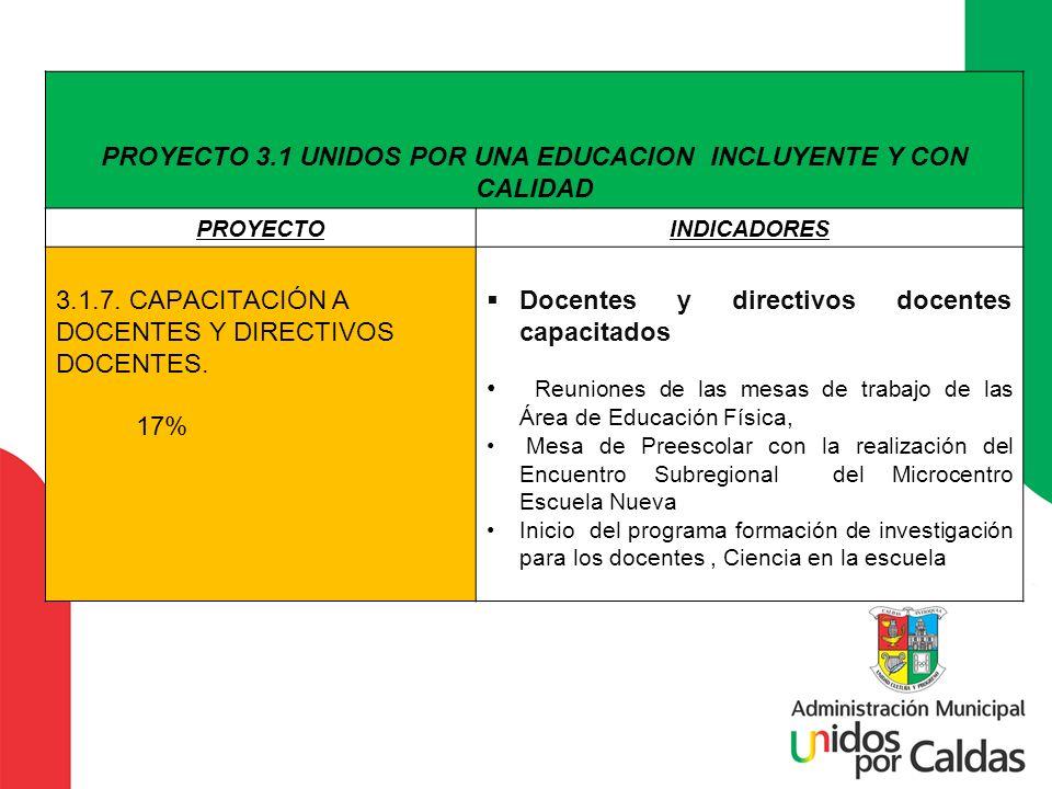 PROYECTO 3.1 UNIDOS POR UNA EDUCACION INCLUYENTE Y CON CALIDAD PROYECTOINDICADORES 3.1.7. CAPACITACIÓN A DOCENTES Y DIRECTIVOS DOCENTES. 17% Docentes