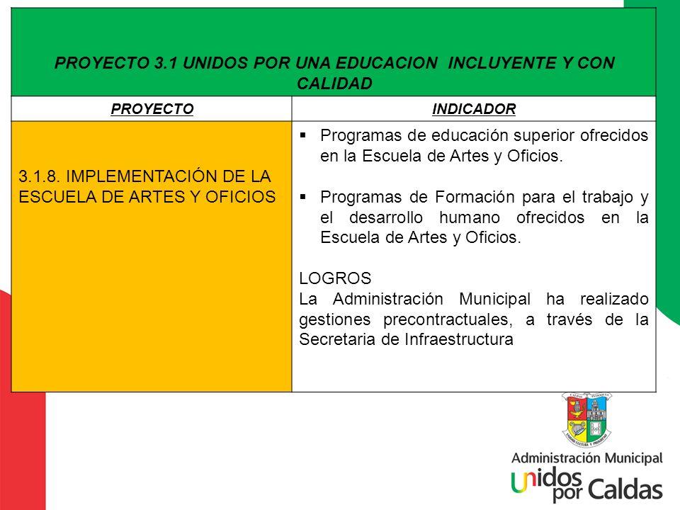 PROYECTO 3.1 UNIDOS POR UNA EDUCACION INCLUYENTE Y CON CALIDAD PROYECTOINDICADOR 3.1.8. IMPLEMENTACIÓN DE LA ESCUELA DE ARTES Y OFICIOS Programas de e