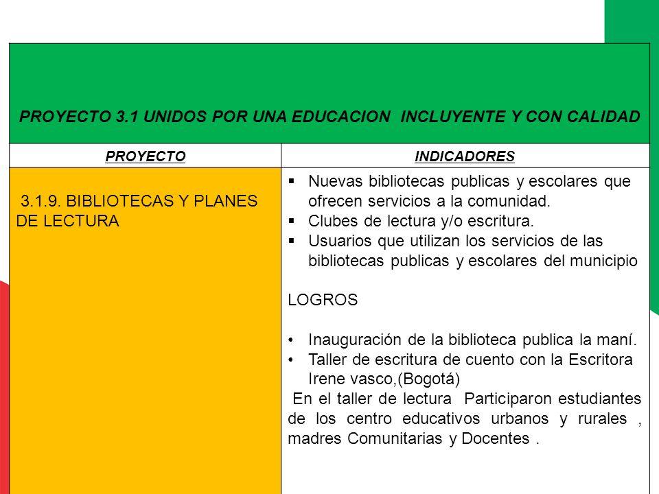 PROYECTO 3.1 UNIDOS POR UNA EDUCACION INCLUYENTE Y CON CALIDAD PROYECTOINDICADORES 3.1.9. BIBLIOTECAS Y PLANES DE LECTURA Nuevas bibliotecas publicas