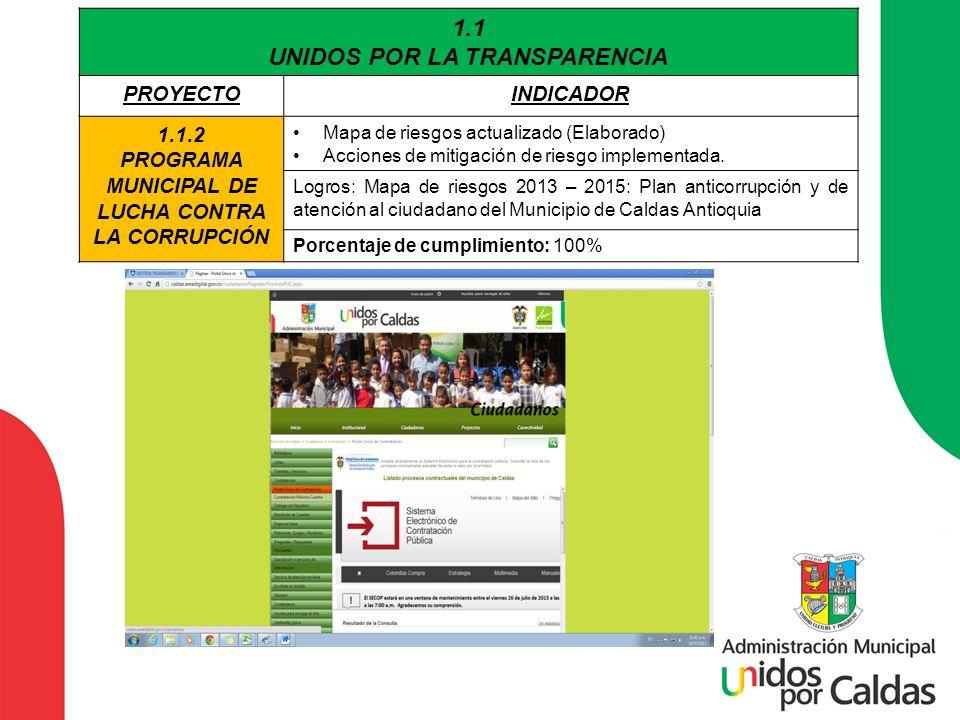 1.1 UNIDOS POR LA TRANSPARENCIA PROYECTOINDICADOR 1.1.2 PROGRAMA MUNICIPAL DE LUCHA CONTRA LA CORRUPCIÓN Mapa de riesgos actualizado (Elaborado) Accio